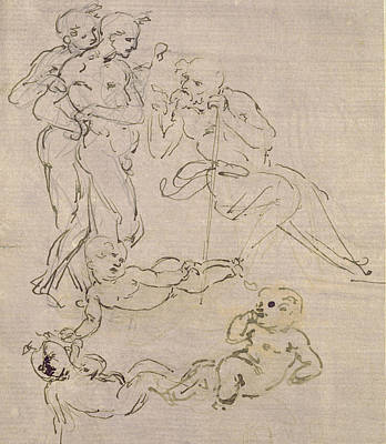 Shepherd Drawing - Figural Study For The Adoration Of The Magi by Leonardo Da Vinci