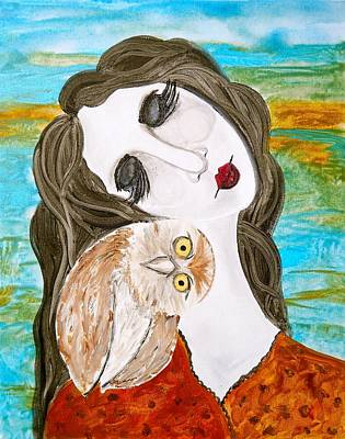 Figure And Owl Painting - Wise Beyond My Years Art Print by Laura Carter