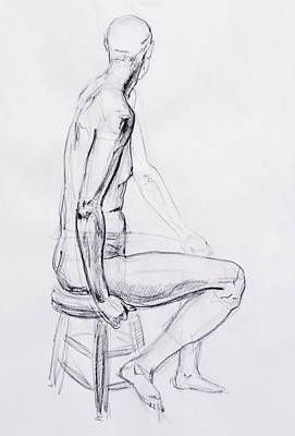 Nudes Royalty-Free and Rights-Managed Images - Figure Drawing Study V by Irina Sztukowski
