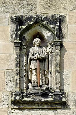 Figure Of St Wystan Above Porch Door Art Print by Rod Johnson