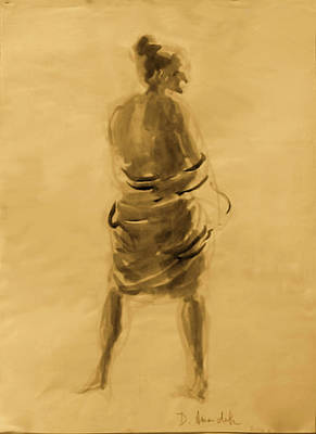 Sepia Ink Drawing - Figure Seen From The Back by Dominique Amendola
