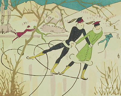 Wintry Drawing - Figure Skating  Christmas Card by American School