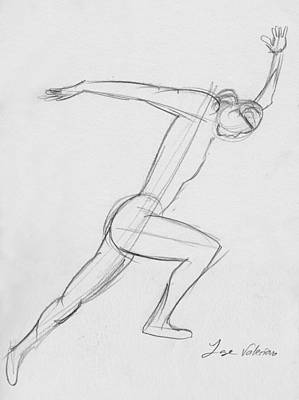 Drawing - Figure Sketch by M Valeriano