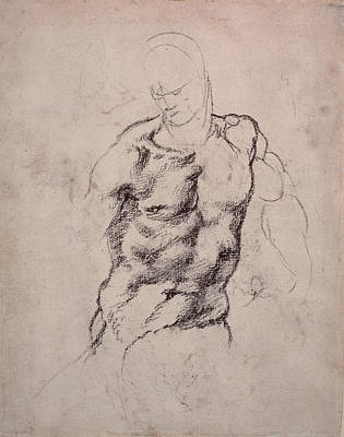 Male Nude Drawing Drawing - Figure Study by Michelangelo Buonarroti