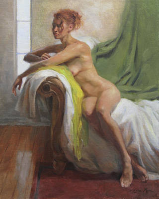 Young Woman Painting - Figure With Chartreuse Scarf by Anna Rose Bain