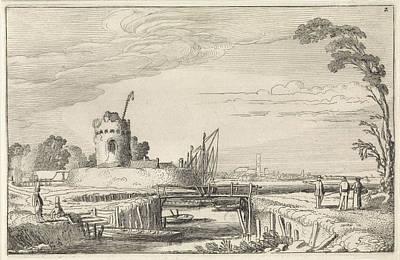 Lighthouse Drawing - Figures At A Harbor And A Tower, Jan Van De Velde II by Jan Van De Velde (ii)