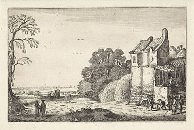 Old Country Roads Drawing - Figures At A House And Covered Wagons On A Country Road by Artokoloro