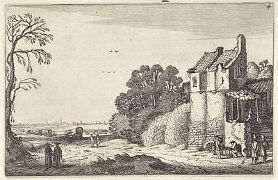 Figures At A House And Covered Wagons On A Country Road Art Print by Jan Van De Velde (ii)
