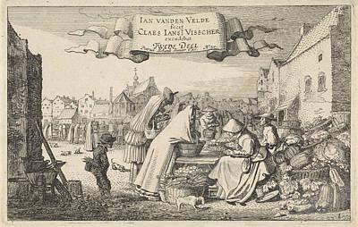 Vegetable Market Drawing - Figures At A Vegetable Stall At A Market by Jan Van De Velde (ii)