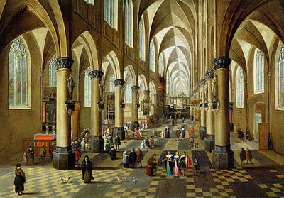 Figures Gathered In A Church Interior, 17th Century Art Print by Pieter the Younger Neeffs