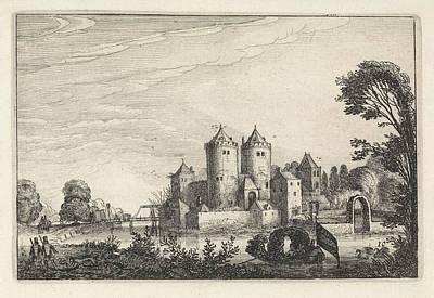 Canoe Drawing - Figures In A Canoe In A Castle, Print Maker Jan Van De by Artokoloro