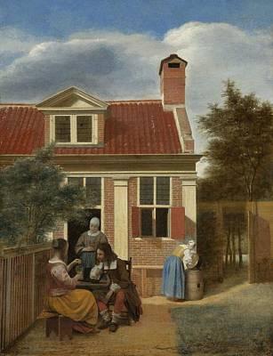 Pieter De Hooch Wall Art - Painting - Figures In A Courtyard Behind A House by Pieter de Hooch