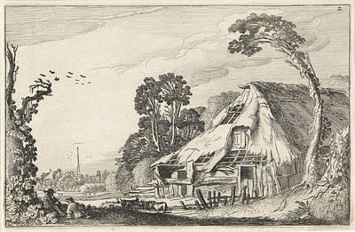 Dilapidated Drawing - Figures In A Dilapidated Barn, Jan Van De Velde II by Jan Van De Velde (ii)