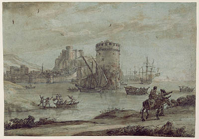 Wash Drawing - Figures In A Landscape Before A Harbor Claude Lorrain by Litz Collection