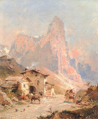 Old Country Roads Digital Art - Figures In A Village In The Dolomites by Franz Richard Unterberger