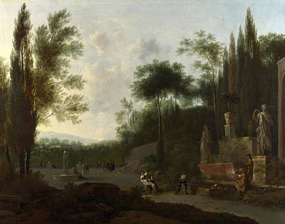 Painting - Figures In An Italian Garden by Frederick de Moucheron