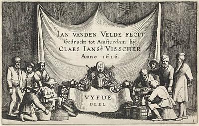 Barrel Painting - Figures In Barrels And Baskets, Jan Van De Velde II by Jan Van De Velde (ii)