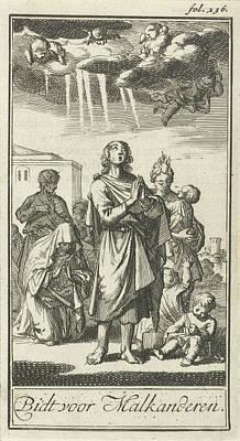 Bos Bos Drawing - Figures In Prayer, Jan Luyken, Barent Bos by Jan Luyken And Barent Bos