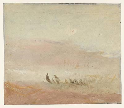 Jmw Drawing - Figures On A Beach Study 1845 by J M W Turner