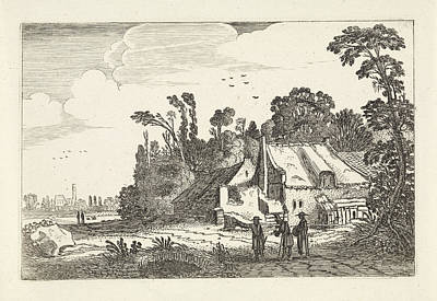 Figures On A Country Road Near A Farm, Jan Van De Velde II Art Print by Jan Van De Velde (ii)