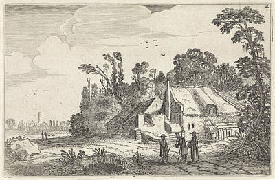Figures On A Country Road Near A Farm, Print Maker Jan Van Art Print by Jan Van De Velde Ii