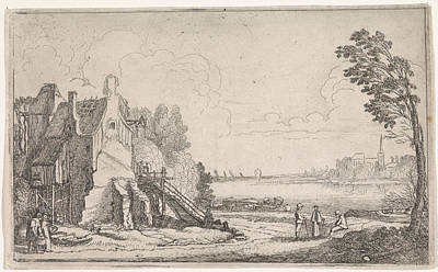 Dilapidated Drawing - Figures On A Path Along A Dilapidated House On A River by Jan Van De Velde (ii)