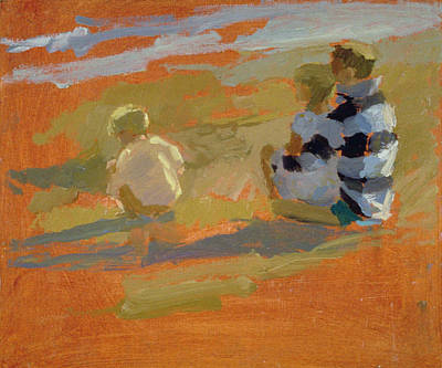Youthful Painting - Figures On The Beach  by Sarah Butterfield