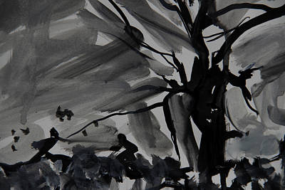 Drawing - Figures Under A Tree At Dusk by Jim Vance
