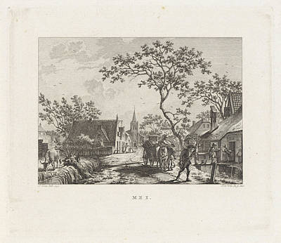 Crate Drawing - Figures With Household In A Village Street by Izaak Jansz. De Wit