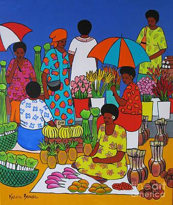Local Food Painting - Fiji Market by Karen Bower