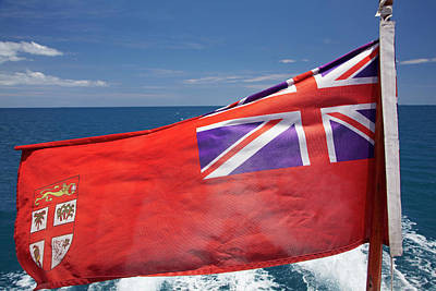 Ensign Photograph - Fiji Merchant Ensign Flag On Malolo Cat by David Wall
