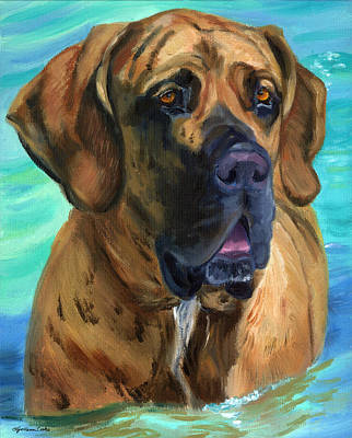 Dog Art Painting - Fila Brasileiro...swim by Lyn Cook