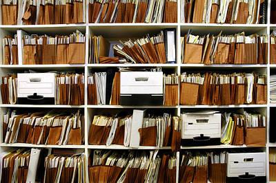 Mess Photograph - Files On Shelf by Lane Erickson