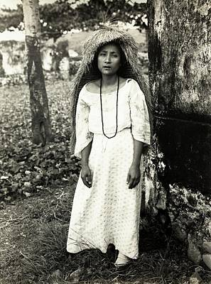 Raincoats Photograph - Filipino Woman In Traditional Rain Cape by American Philosophical Society