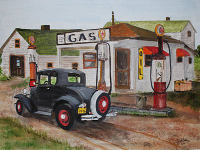 Jack Brauer Painting - Fill Er Up by Jack G  Brauer