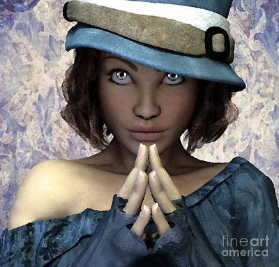 Painting - Fille Au Chapeau by Sandra Bauser Digital Art