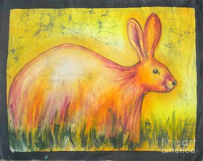 African Village Scene Painting - Filled Rabbit by Peter Mkoweka