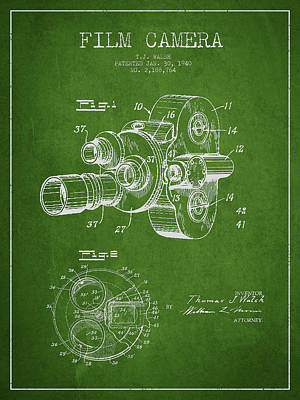 Vintage Camera Wall Art - Digital Art - Film Camera Patent Drawing From 1938 by Aged Pixel