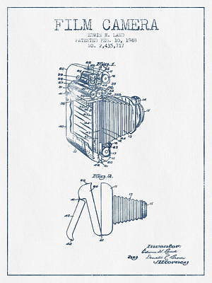 Film Camera Patent From 1948- Blue Ink Art Print by Aged Pixel