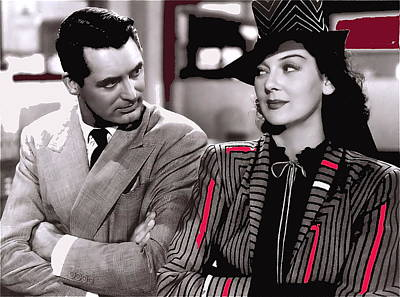 Film Homage Cary Grant Rosalind Russell Howard Hawks His Girl Friday 1940-2008 Art Print