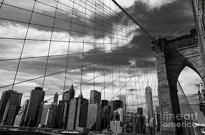 Film Noir Brooklyn Bridge Art Print by Juan Romagosa