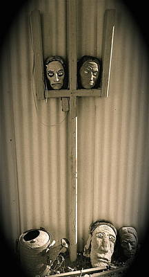 Film Noir Sidney Greenstreet Mask Of Demetrious 1944 Sid Bruce's Sculptures Black Canyon Az 1991 Art Print by David Lee Guss