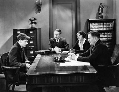 Clark Table Photograph - Film Still Office Scene by Underwood Archives