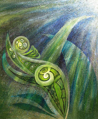 Maori Painting - Filtered Marine Light by Reina Cottier