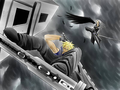 Sephiroth Painting - Final Fantasy 7 Cloud Vs Sephiroth by Stefano Ukandu