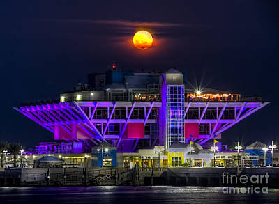 Full Moon Photograph - Final Moon Over The Pier by Marvin Spates