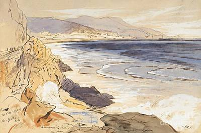 Beach Landscape Drawing - Finale by Edward Lear