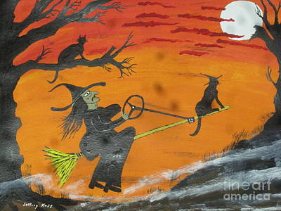 Orange Painting - Power Steering Halloween Broom. by Jeffrey Koss