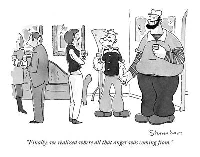 Parties Drawing - Finally, We Realized Where All That Anger by Danny Shanahan