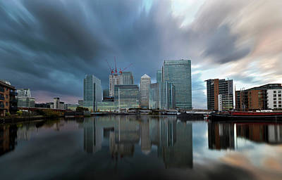 Financial District Photograph - Financial Storm At Canary Wharf, London by Esslingerphoto.com